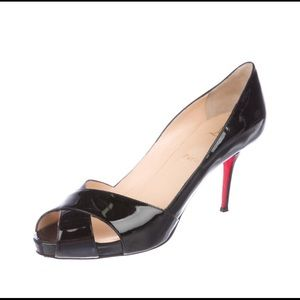 Christian Louboutin Patent Leather Peep-Toe Pumps
